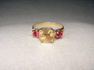 Estate 14k Yellow Gold Ruby Taurus Zodiac Sign Coin Ring