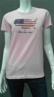 Faded Glory Patriotic Flag Ladies Womens L Short Sleeve Basic T Shirt