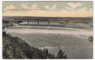 Great Falls Montana Rainbow Falls 1913 Colored Postcard