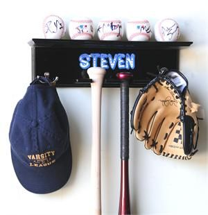 Bats, Hat/Jacket, and Glove Display Case Rack Cabinet Holder