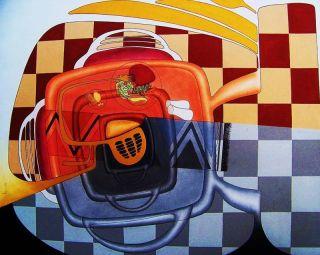 Geri White Diner Painting Surrrealism Art SN Modern