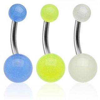 Glow in The Dark Ball Belly Navel Ring Solid Titanium Bar Button