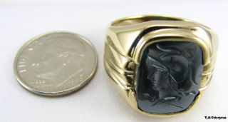 Hematite Greek Warrior Intaglio Ring 10K Yellow Gold Mens Estate