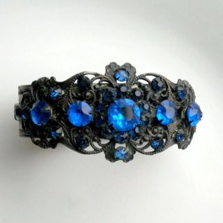 Ornate Blue Glass Rhinestone Filigree BRACELET victorian vintage