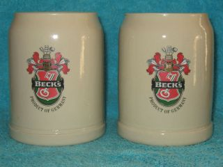 Becks Beer Steins Mugs Ceramic Made in West Germany Set of 2