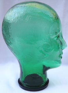 Green Glass Art Deco Womens Head Hat Stand