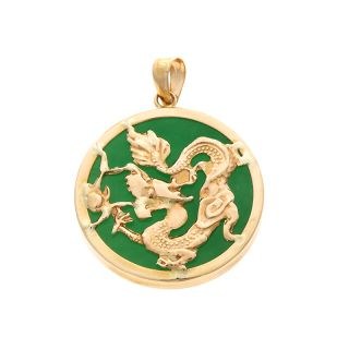14kt Yellow Gold Green Jade Dragon Circular Pendant