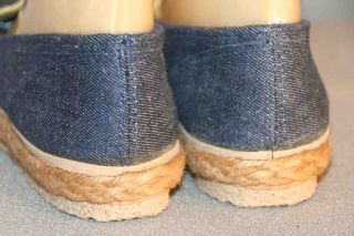 JUTE Wrap Blue Jean Denim RAINBOW SNEAKER GRASSHOPPERS NOS Flat Shoe