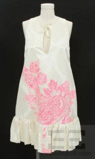 Giambattista Valli Cream Brocade Neon Pink Print Dress Size 44