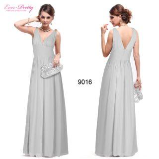 Super Sexy Grays Chiffon Crystal V Neck Long Bridesmaid Dress 09016 US