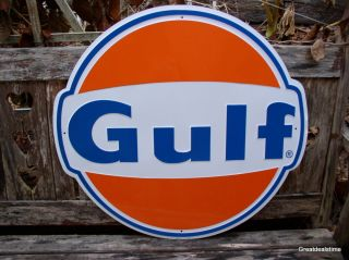 Large Gulf Oil Gas Sign Gasoline Old Vintage 1960s Gulf Antique Gas