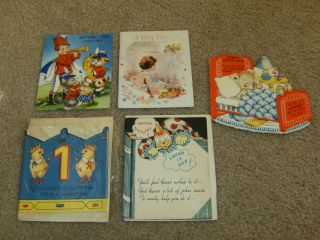 Vintage Childrens Greeting Cards, Toys, Fairy Tale, Crown, Joke Book