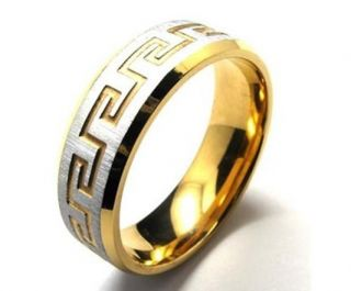 Gold Plated Stainless Steel Greek Style Ring Mens Free SHIP Size 8 12