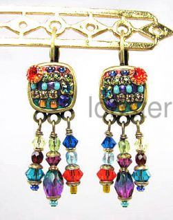 Michal Golan Swarovski Crystal Dangle Earrings Colorful