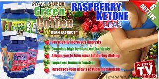 3X Pure Green Coffee Bean Extract Chlorogenic Acid 800mg 3X Raspberry