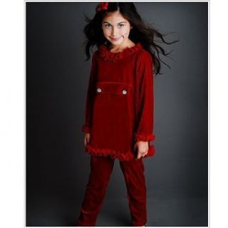 Greggy Girl Toddler Girls Red Velvet Rhinestone Holiday Outfit 3T