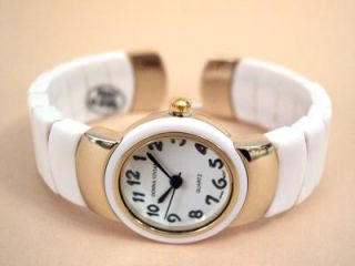 White Gold Flex Links Band Ladies Bangle Cuff Watch