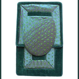of HUNTER GREEN 3 Piece Embroidered Bathroom Rug/mat Set. Bath Rug/mat