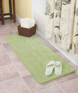 Sage green Plush foam microfiber bath bathroom mat rug runner non skid
