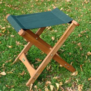 18x17 Folding Wooden Camp Stool w Green Fabric Seat