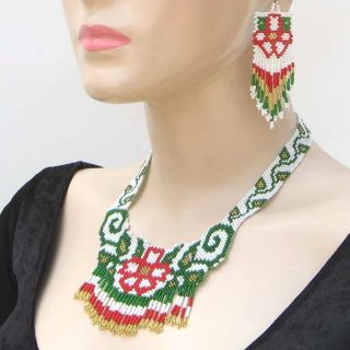 Green White Seed Beads Beaded Flower Necklace Earrings