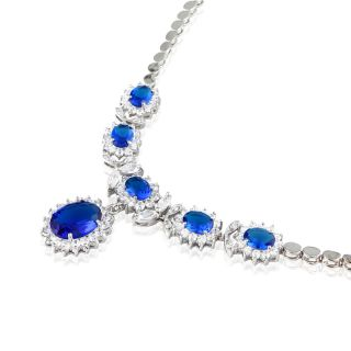 Oval Cut Blue Sapphire White Gold Plated Pendant Necklace Silver Tone