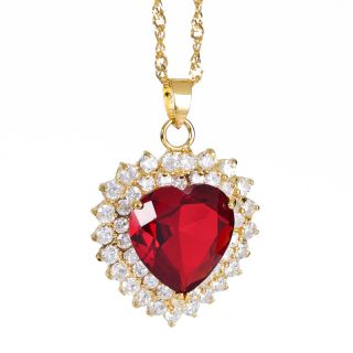 Fashion Lady Jewelry Ruby Topaz Rhinestones Yellow Gold Plated GP