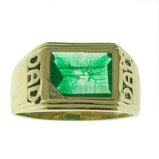10K Yellow Gold Green Quartz Dad Mens Ring