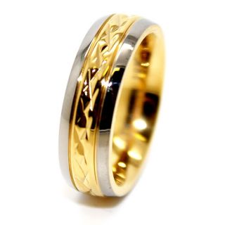 5mm 18K Gold Plated Facet Titanium Wedding Band Engagement Ring Size 6