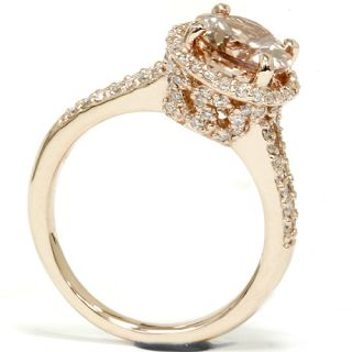 Diamond Engagement Ring 14k Rose Gold Halo Split Shank
