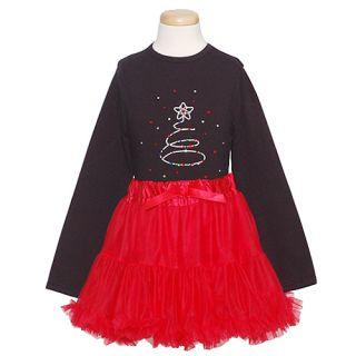Gigi Girls Cute Black Red Christmas Tree Tutu Skirt Outfit Set 8