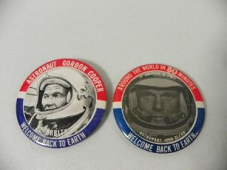 to Earth Astronaut Buttons Pins Gordon Cooper and John Glenn