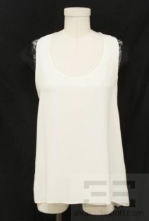 Karina Grimaldi Cream Matte Silk Black Lace Cap Sleeve Top Size Large