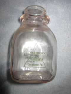 Greenwood Dairies Langhorne PA Half Pint Milk Bottle