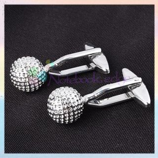 Mens Stainless Steel Golf Ball Cuff Links Cufflinks Suit Shirt Cloth