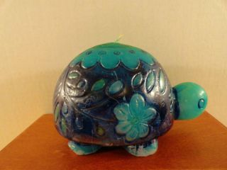 VTG 1970s Retro Groovy Flower Power Wax Blue TURTLE Candle Hippie
