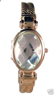 Gossip Watch 18K Gold Plated Cuff Bracelet Clear Seiko