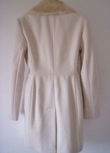 £170 French Connection Cashmere Wool Faux Fur Collar Coat UK 12 BNWT