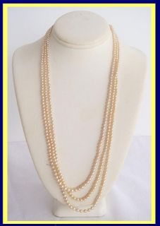 Natural Pearl Diamond Necklace Triple Strand Certified Natural 4953