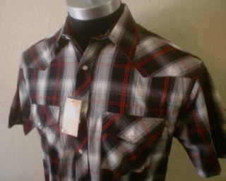 Black Red White Plaid Pearl Snap Rockabilly Cowboy Western Club Shirt
