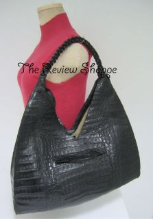 Nancy Gonzalez Genuine Crocodile Hobo Satchel Handbag Black