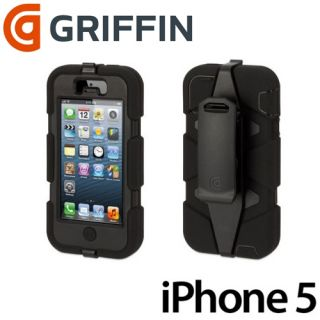 GRIFFIN SURVIVOR BLACK MILITARY DUTY CASE & BELT CLIP for NEW iPhone 5