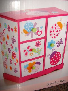 NEW* Little GIRLS Childrens JEWELRY BOX ladybugs and butterflies