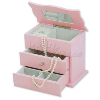 Baby Pink Wooden Girls Childrens Jewelry Box Case Organizer Storage