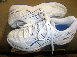 Asics Gel Smash Women Girls Volleyball Shoes White Blue New 6 9