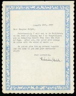 Lillian Gish Vintage 1982s Original Signed Typed Letter TLS