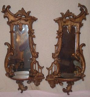 Pair Antique French Rococo Wall Mirror w Shelf Carved Baroque Gilt