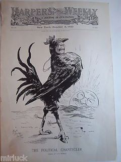1910 Harpers Weekly Cover Art Rooster Spurs Political Cartooon