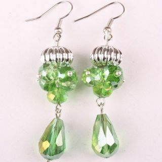 Crystal Glass Faceted Bead Necklace Earrings Bracelet 1 Set