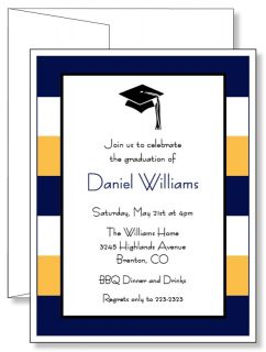 Personalized Stripes Graduation Announcement Invitations Any Color
